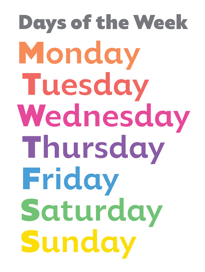 Days of the Week Memory Game for EFL, ESL Learning ...